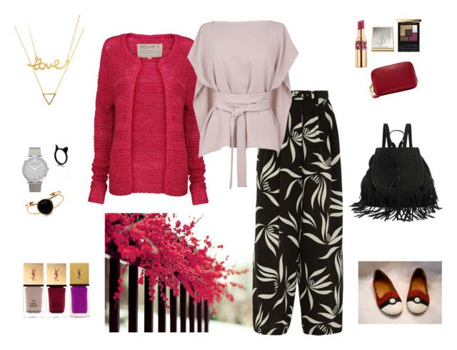 """Almoust Autumn - Raspberry, Blush and Black"" by annavaschetto on Polyvore featuring moda, Garcia, Wanderlust + Co, Etro, TIBI, Larsson & Jennings, Minnie Grace e Yves Saint Laurent"
