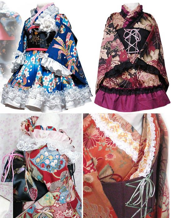 Designer kimonos with Wa Lolita skirts and corsets by Lacrima, Tokyo Japan.