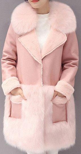 Faux-Fur Trim Coat in Pink