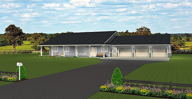 Plan 2015875 Ranch Style Bungalow Plan Slab On Grade Large 3 Car Garage 3 Bedrooms 3 Baths Main Floo Bungalow House Plans Home Exterior Makeover Bungalow