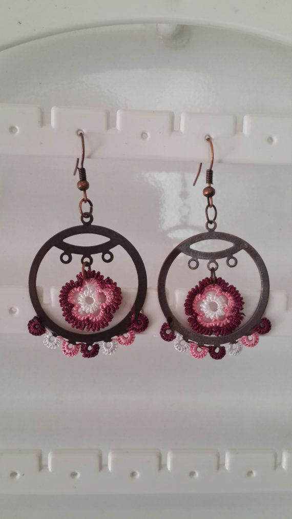 christmas gift Earings Handmade turkish Oya Crochet by EnjOOya
