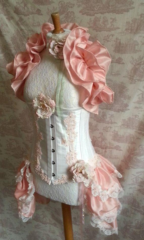 "SALE. 28"" Silk Waist Corset FAIRIE PINK Fairy Appliqued Underbust Silk Corset Steampunk Wedding By Ophelias Folly"
