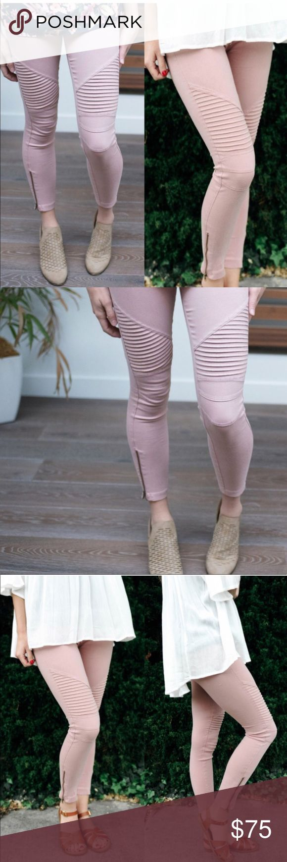 COMING SOON Dusty Rose Stretchy Biker Pants Adorable dusty rose colored stretchy biker jeans with zippers at the bottom of the legs. Picture 4 is the color of the jeans. Sizes s/m and l/xl. Aluna Levi Pants Skinny