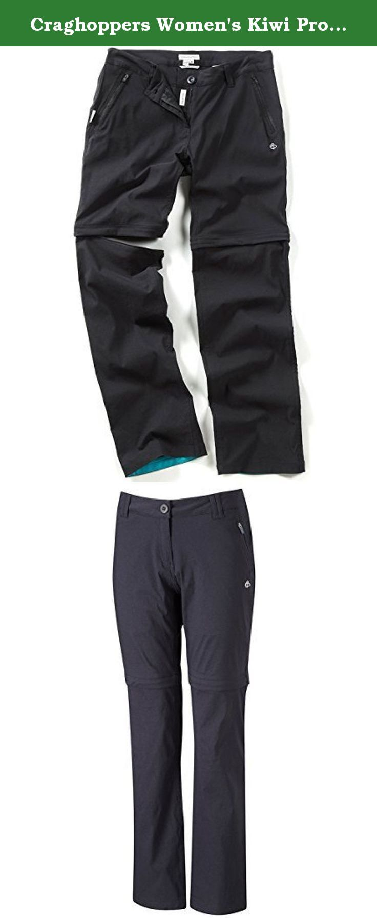 Craghoppers Women's Kiwi Pro Convertible Walking Trousers 12 US | Long Black. Fabric Technologies Stretch - Available as 2 & 4 Way Stretch To Allow Unrestricted Movement Stretch fabrics enhance comfort and facilitate a greater degree of movement, improve the fit and maximise easy care/minimum iron attributes. A tighter weave is available when used in conjunction with other fabric technologies such of waterproof, bug repellent and sun-protective garments. SmartDry - Featuring A Water…