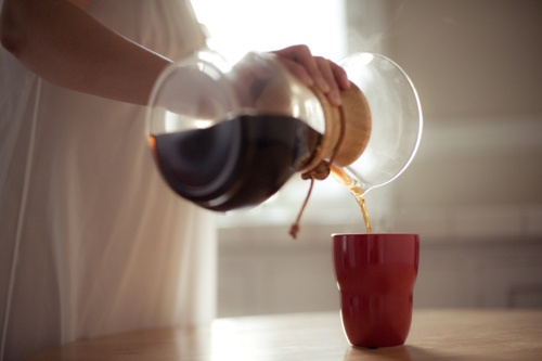 coffee in the morning (chemex coffee maker)