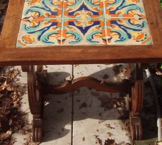Why Didnu0027t My Grandma Have One Of These? I Want To Inherit One Of These.  Catalina Island Tudor D California Pottery Tile Mission Arts Crafts Lyre  Table