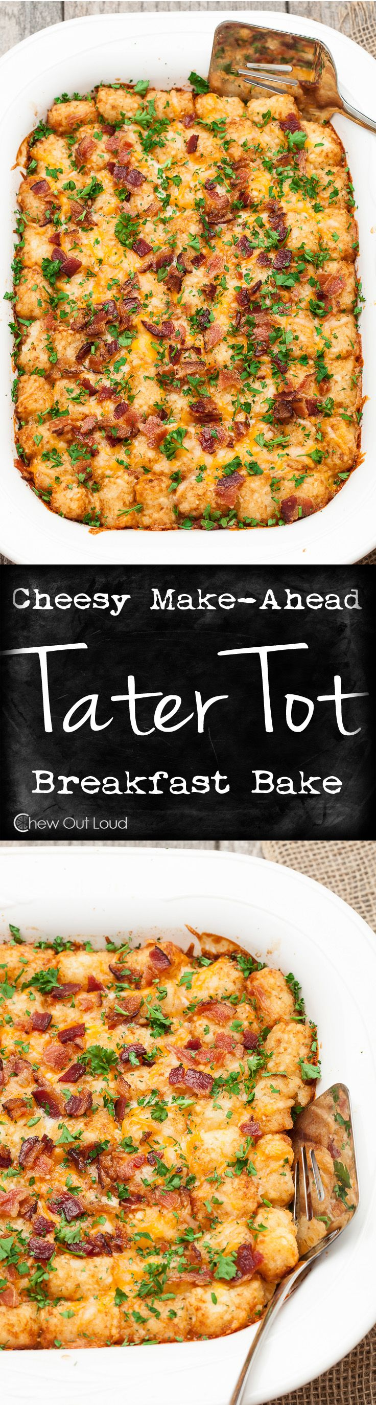Cheesy Tater Tot Breakfast Bake - Just a handful of ingredients, make-ahead the night before, and delicious the next morning! Total crowd pleaser! #recipe #brunch #casserole: Cheesy Tater Tot Breakfast Bake - Just a handful of ingredients, make-ahead the night before, and delicious the next morning! Total crowd pleaser! #recipe #brunch #casserole