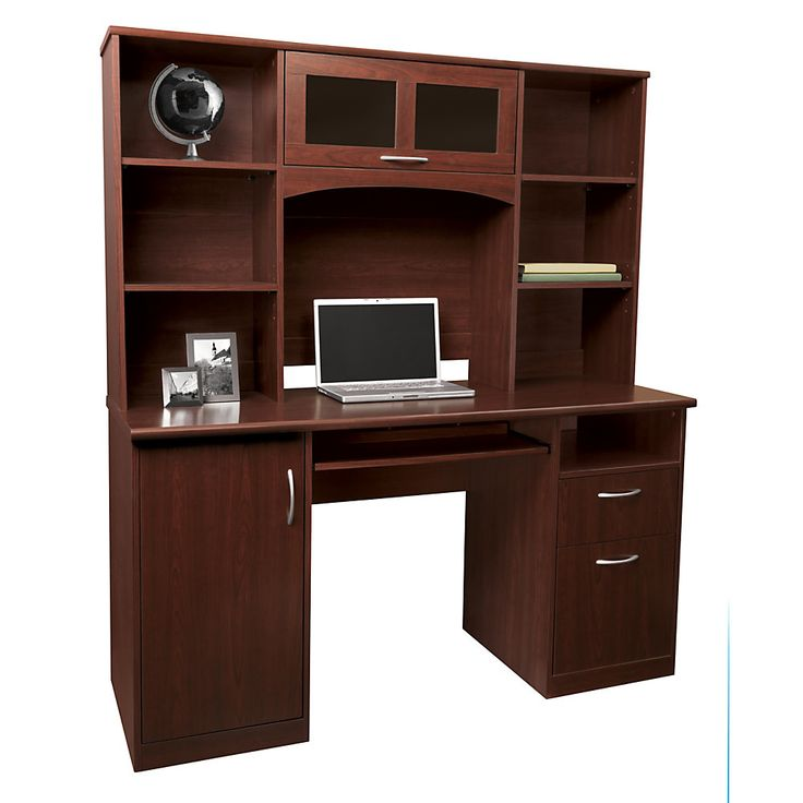 Realspace landon desk with hutch 64 h x 55 1 2 w x 23 d cherry redecorate pinterest - Cherry wood computer desk with hutch ...