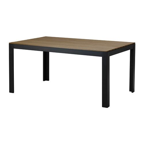 $175 FALSTER Table IKEA Polystyrene slats are weather-resistant and easy to care for. Rustproof aluminum frame is both sturdy and lightweight.  It is 63 inches long and 40 inches wide. I need 2 of them.
