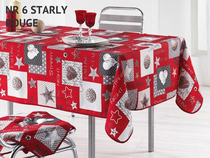 Bożonarodzeniowy obrus czerwony na stół z motywem świątecznym