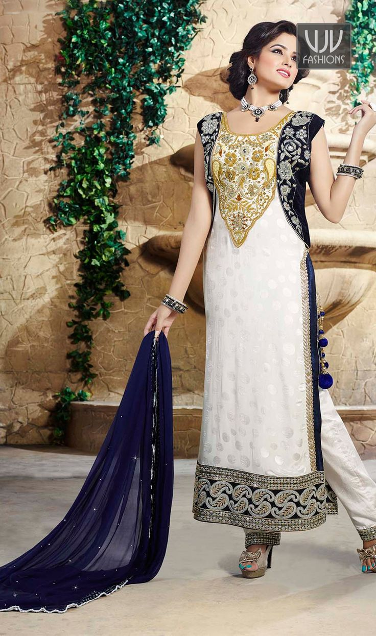Attractive Off White Color Chiffon Designer Salwar Suit  attractive Off white pure chiffon pakistani designer salwar suit lining designed with embroidery, resham, zari, bead, lace and patch border work.