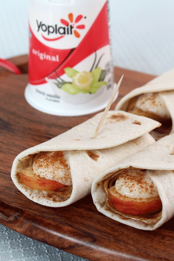 Take tortillas to the next level by adding peanut butter, apple slices, Yoplait and a sprinkle of cinnamon! The whole family's going to love this snack.