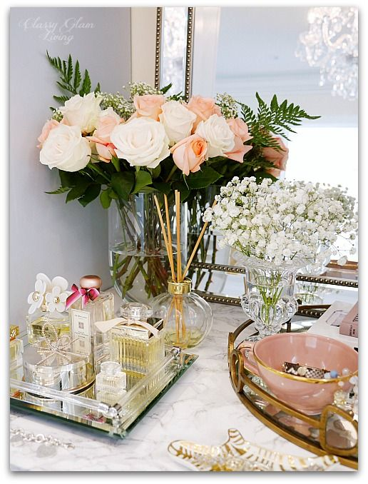 Adding glam to your boudoir a blog hop perfume display for Bathroom tray decor