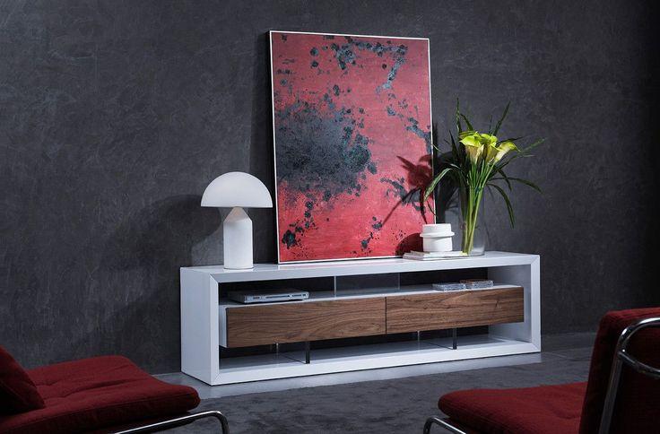 Modrest Manvel Contemporary White & Walnut TV Stand