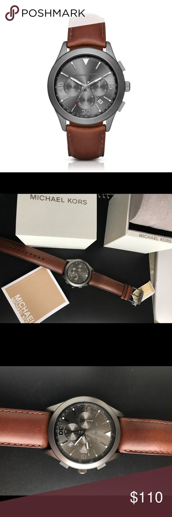 Michael Kors men chronograph watch Brand new with tags MK men's watch. Genuine Leather strap and gunmetal dial. Michael Kors Accessories Watches