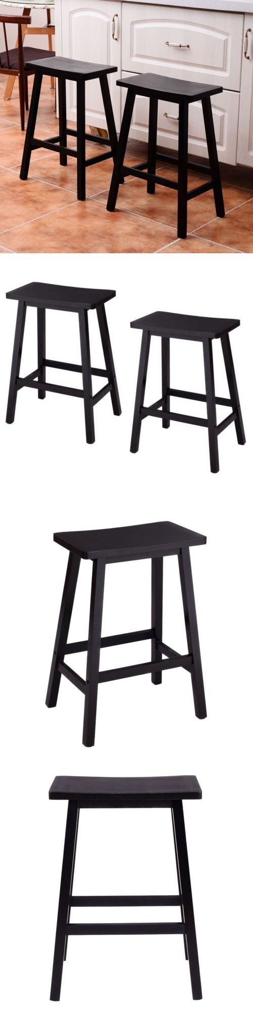 Bar Stools 153928: Set Of 2 Bar Stools Kitchen Dining Room Saddle Seat Wooden Pub Chair 24 Inch -> BUY IT NOW ONLY: $38.5 on eBay!