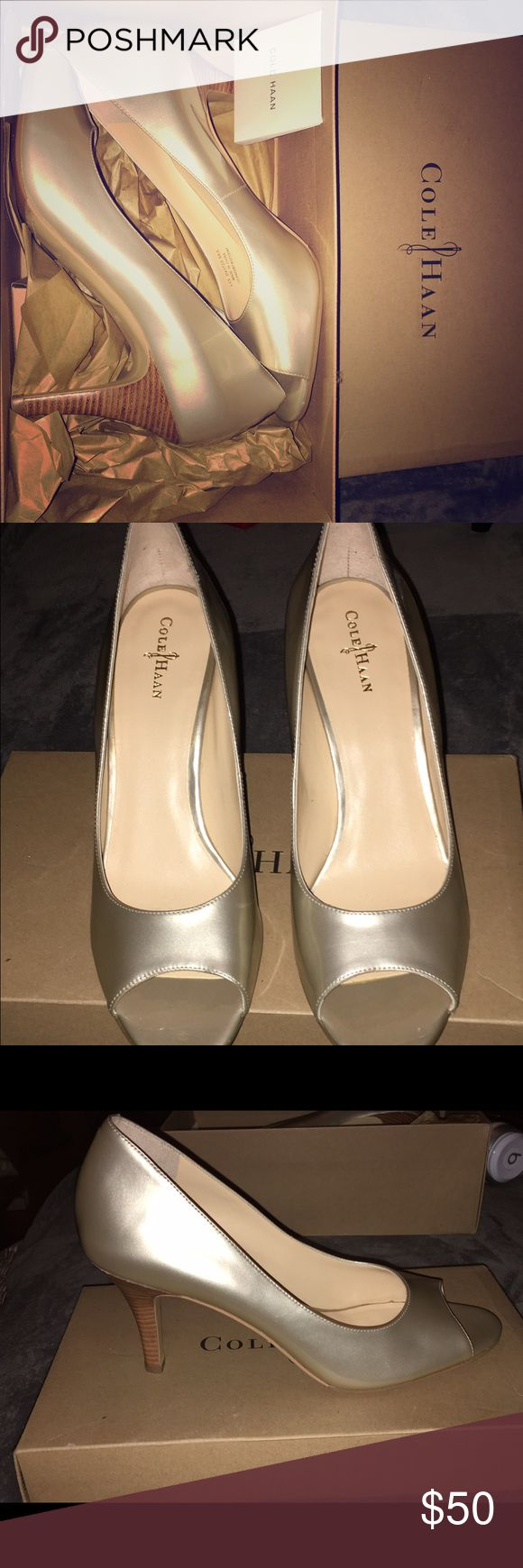 Cole Haan gold Lainey pumps - size 9 AA Super cute Cole Haan metallic leather pump - never been worn. Nike Air technology soles size 9 AA (narrow width) Cole Haan Shoes Heels