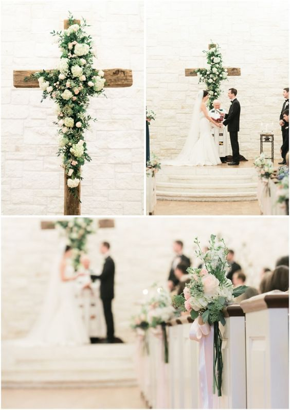 wood cross with flowers indoor wedding backdrop / http://www.deerpearlflowers.com/christian-wedding-corss-ideas/