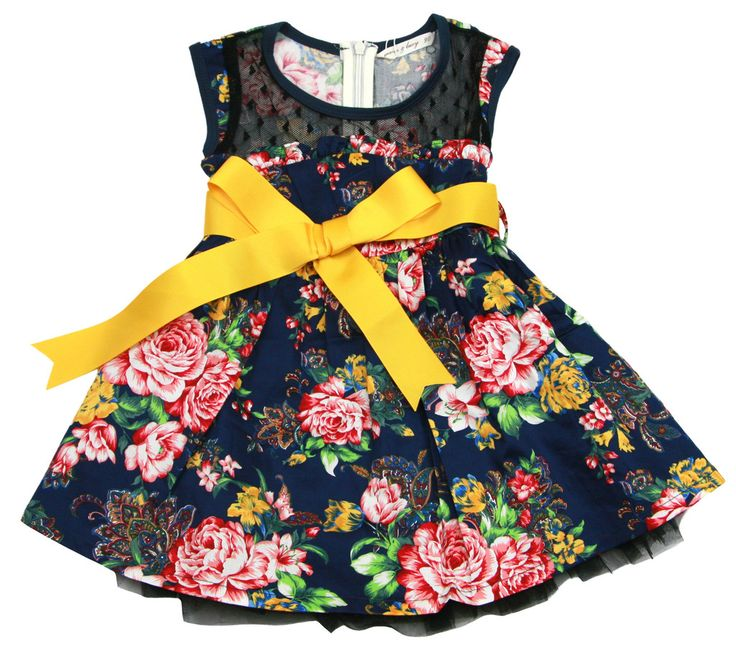 Lace  flowery print  yellow tie waist  dark blue Skater Dress - $ 36.99