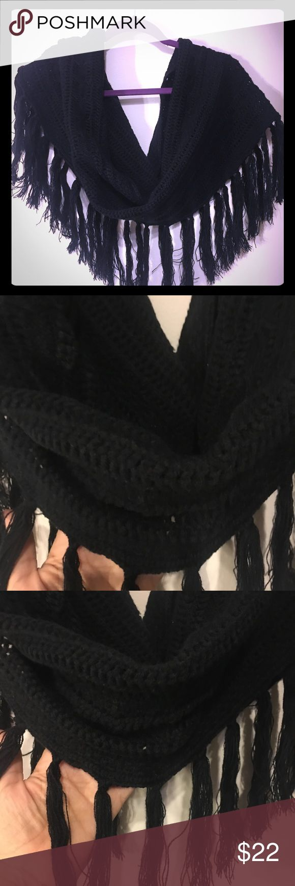 AQUA BRAND INFINITY/SNOOD SCARF AQUA BRAND SCARF BOUGHT IN BLOOMINGDALES NYC  BLACK  100 % ACRYLIC  31 INCHES LONG  12 INCHES WIDE  6 INCH FRINGE  BASIC BLACK INFINITY /SNOOD THATS FAR FROM BASIC. Aqua Accessories Scarves & Wraps