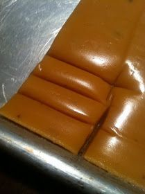 Makes about 200 one-inch squares  2 sticks butter (or 1 cup) 1 1/2 cups Karo syrup 4 cups sugar 2 cans evaporated milk