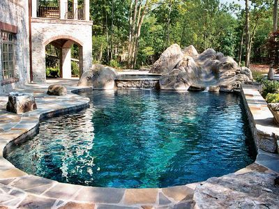 Faux Stone Pool Coping Main Gallery Custom Pool Photo 1017 Blue Haven Pools Backyard