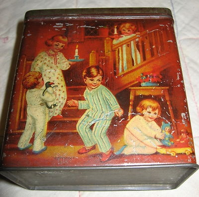 Antique vintage ARNOTT'S BISCUITS Tin Childrens Bedtime Theme