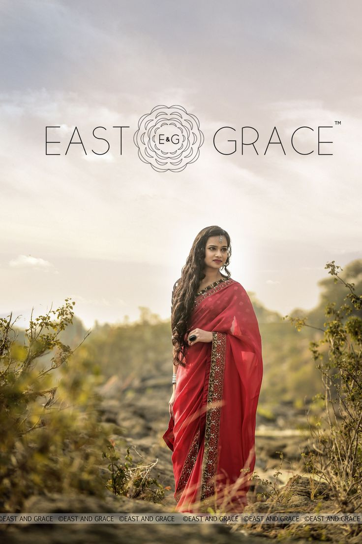 PRICE: INR 11,987.00; US$ 181.62 To buy click here: https://www.eastandgrace.com/products/red-ruby Featuring the Red Ruby saree in pure flat silk-chiffon with antique golden sequin embellished border, that folds the past into the present effortlessly and elegantly. The unusually complementary navy synthetic raw silk blouse, with graceful, white motif embroidery adds that extra special quirk and elevates your style to a new high. For help reach us at care@eastandgrace.com