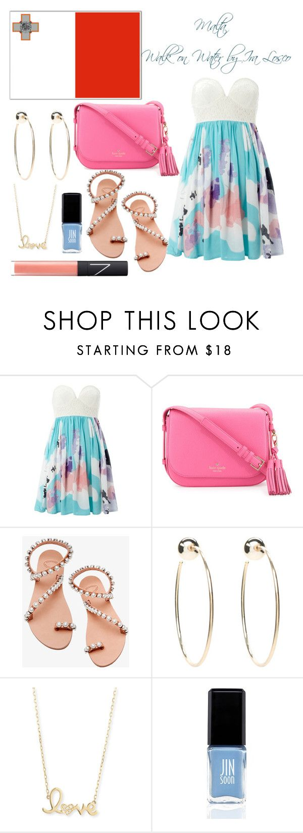 """Malta Eurovision 2016"" by grace-buerklin ❤ liked on Polyvore featuring Izabel London, Kate Spade, Elina Linardaki, Bebe, Sydney Evan, JINsoon, NARS Cosmetics, malta and eurovision2016"