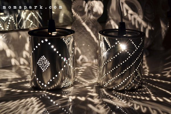 Aren't these tin can lights just gorgeous?! Tutorial to make your own at Mom Spark!