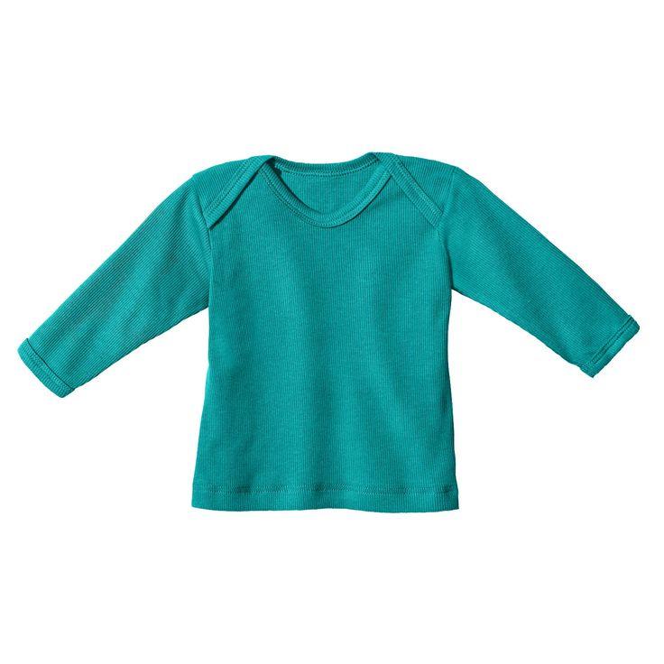 Baby-ribshirt met lange mouwen, smaragdgroen