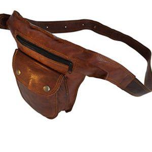 Riñonera de cuero marrón fina para la cintura