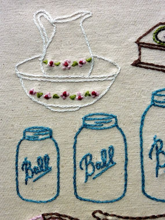 Mason Jar and Pitcher / Bowl Embroidery... Perfect |  Antique Shop Hand Embroidery Pattern by thestoryofkat on Etsy