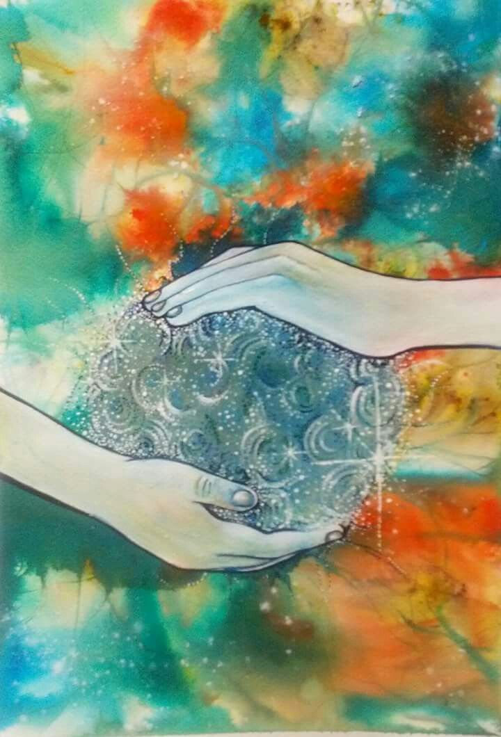 Chi, watercolour & acrylic, art work by Irish artist Claire Loughran.  Tai chi, martial arts