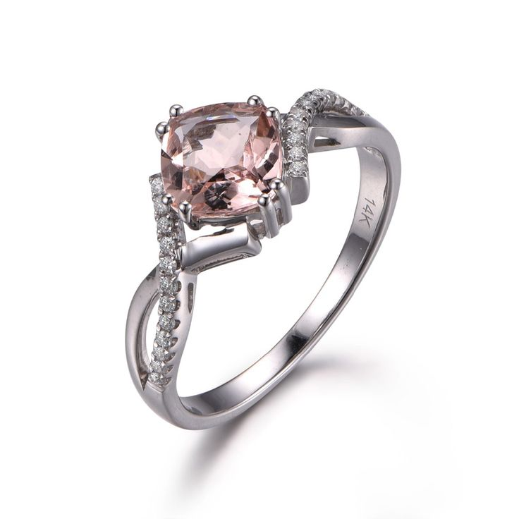 MYRAY Solid 14k White Gold 8x8mm Cushion Cut Natural Genuine Pink Morganite Antique Ring Vintage Engagement Rings for Women Band