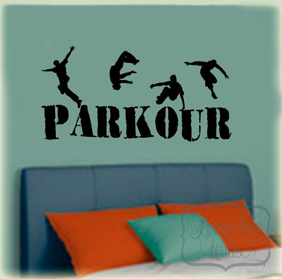 Parkour vinyl wall lettering decal with by PersnicketyWallVinyl, $26.00