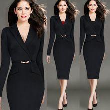 2016 Yeni Bayan Elbise Bahar Uzun Kollu Yaka Faux Sarılmış Patchwork Düğme İş Ofis Kılıf Kalem Elbise Çalışma Giyin(China (Mainland))