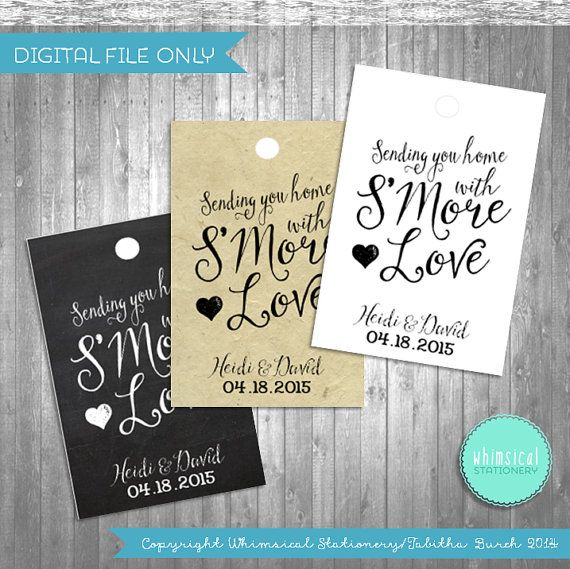 ♥ Wedding Favor Tags - SMore Love - Swirly ♥    Show your guests SMore Love with these beautiful favor tags! Make a small kit with graham