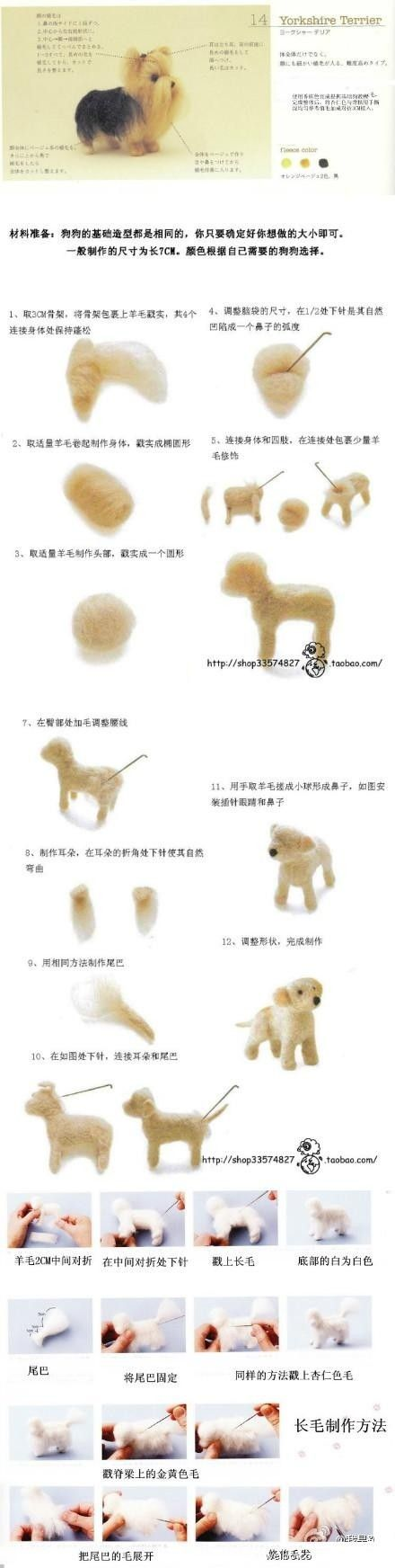 Felted Yorkshire terrier, step by step.