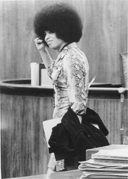 Angela Davis leaving court during her trial. Power To The People!!!!!