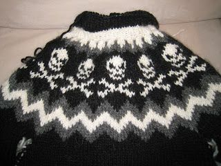 If only I liked to knit   Knit Icelandic: Knitted Icelandic sweater (lopapeysa) with skulls almost finished!