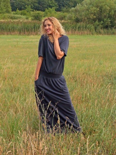 a9b1d25779e Dlouhé šaty modré krátký rukáv letní šaty dlouhé šaty modré dlouhé ...