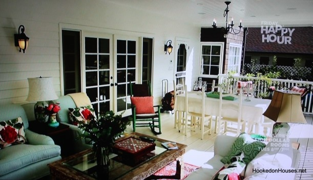 Plenty of room for Marlena and John.  And Roman.  And Stefano.  And her evil twin.  (Deidre Hall's back porch on HGTV 2)
