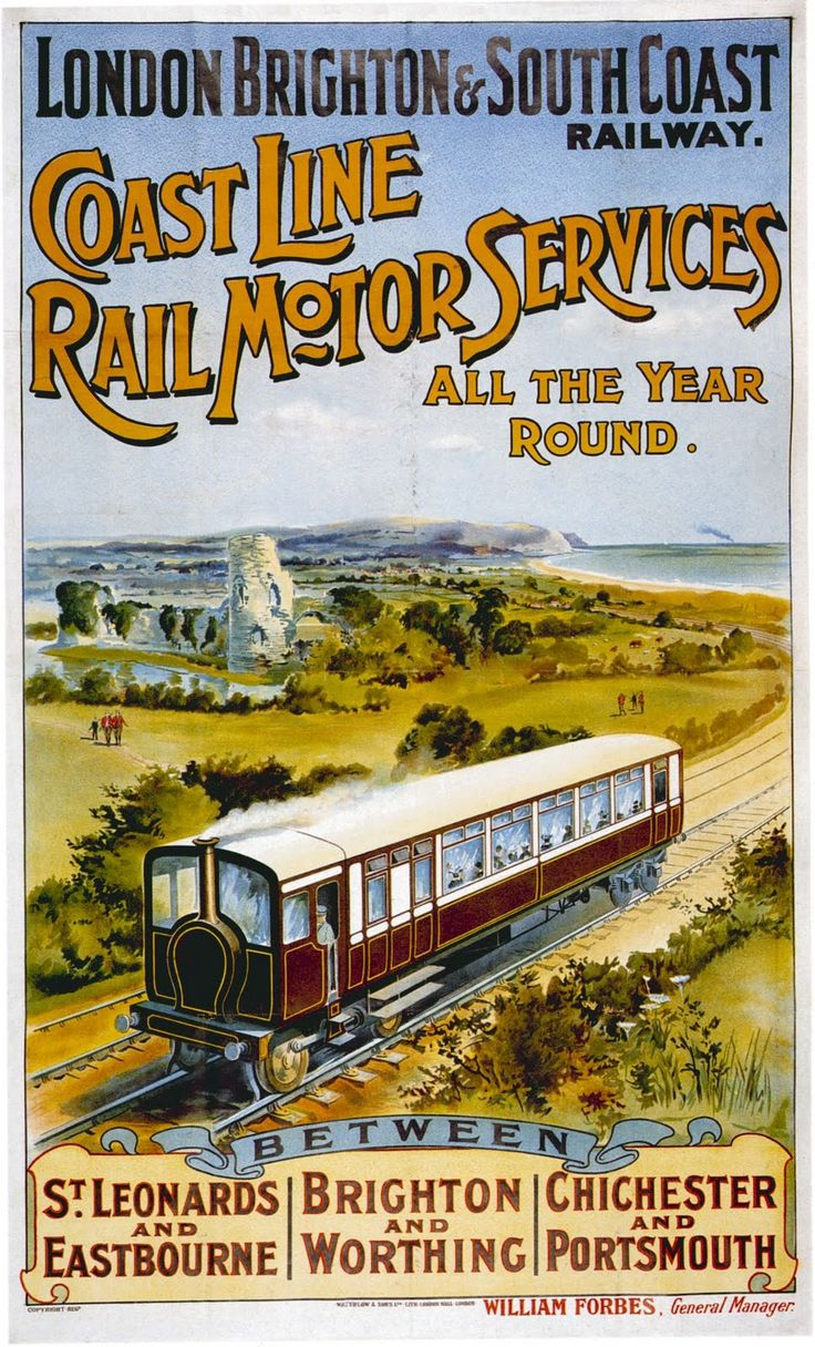 Edwardian (1906) poster advertising the London Brighton & South Coast Railway's Coast Line Rail Motor services. In an attempt to introduce cost-effective stock to loss-making passenger services the LBSCR acquired two steam- and two petrol-driven rail motors. They were not a success.