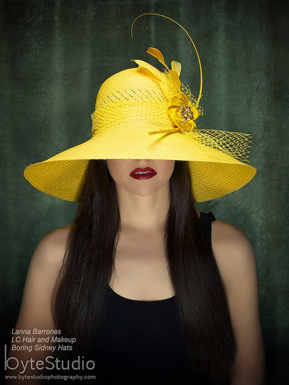 Haute Couture Hat Yellow Sun Hat Kentucky Derby by BoringSidney, $210.00