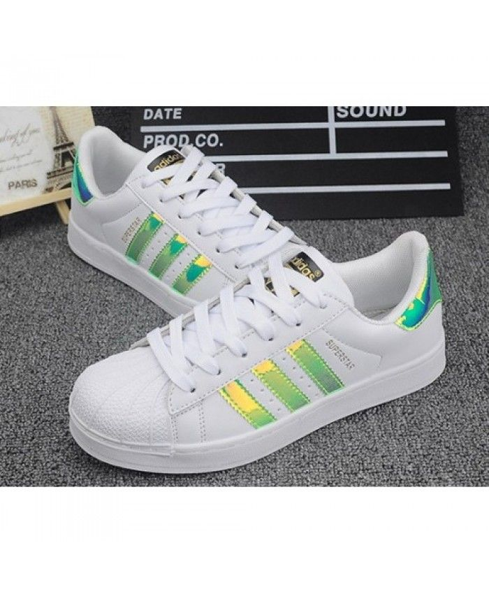 adidas superstar green and orange stripes