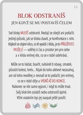 Portál pro osobní rozvoj změnou podvědomí a vlastní přitažlivosti: Člověče, poznej se — 16/24: Blok odstraníš...