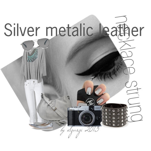 silver metalic necklace stung 2013 by hunszil, via Polyvore
