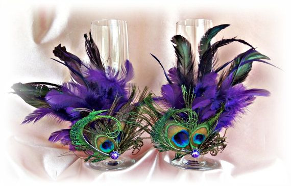 Peacock Feathers Champagne Glasses Wedding Table Settings Stemware Decoration Glasses