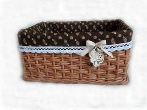 Como hacer una canasta de papel periodico - A basket of newspaper - tuto...